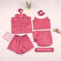 2018 New Summer Women's Sleep Solid Chiffon Spaghetti Strap 7 Piece Pajama Sets Women Slim Sexy Shorts Fashion Pink Lounge Mw220