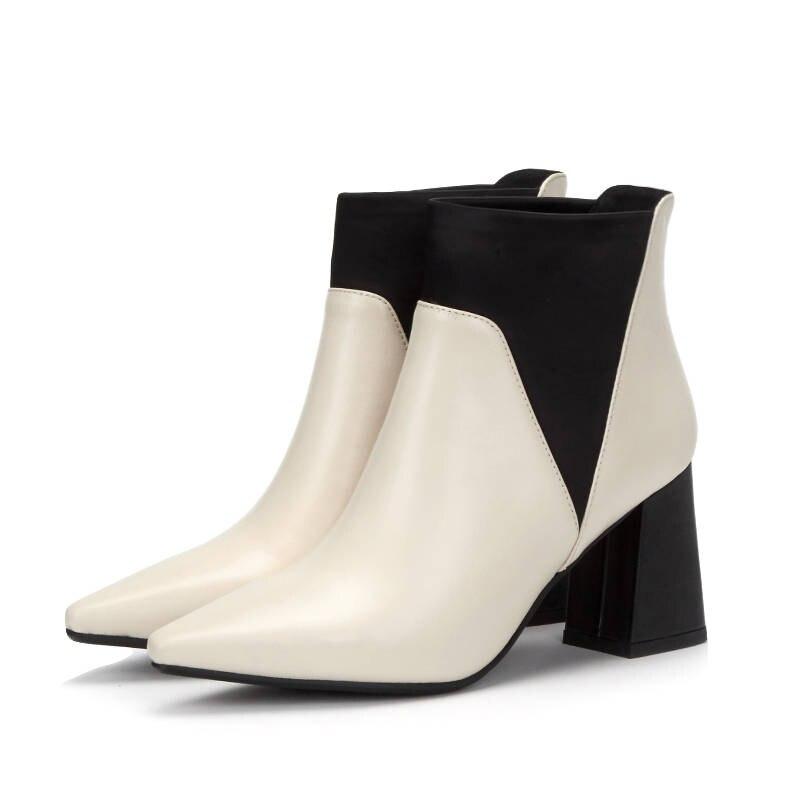 MORAZORA 2020 new arrival ข้อเท้ารองเท้าบู๊ทหนังแท้สีผสมแฟชั่นรองเท้ารองเท้าส้นสูงรองเท้าฤดูใบไม้ร่วงหญิง-ใน รองเท้าบูทหุ้มข้อ จาก รองเท้า บน   3