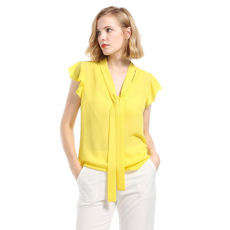Female Office   Shirts   Short Sleeve Ladies Summer   Blouse   yellow Women Ruffle   Blouse     Shirt   Top With Bow