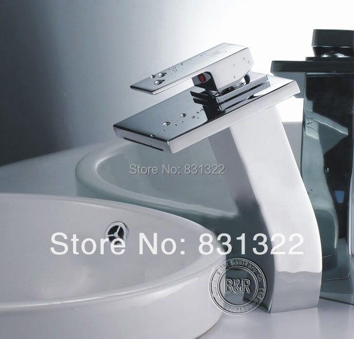 Bathroom Faucet Chrome Finish Deck Mounted Basin Sink Faucet Mixer Tap Waterfall Faucet  LT-511