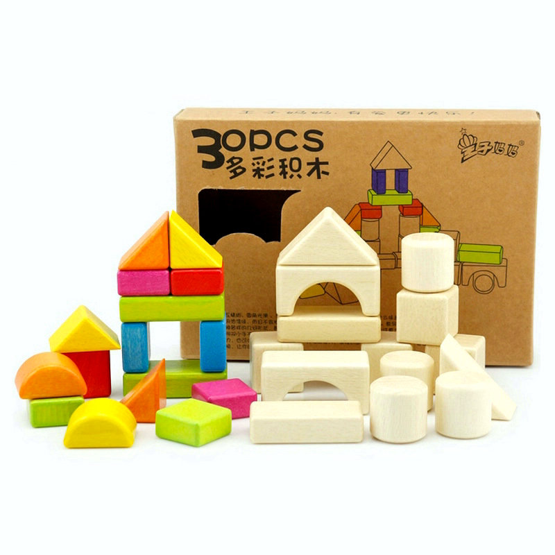 30PCS colorful Wood building blocks build wooden baby toys safety early childhood education toys Kids Assembly wood blocks in Wooden Blocks from Toys Hobbies