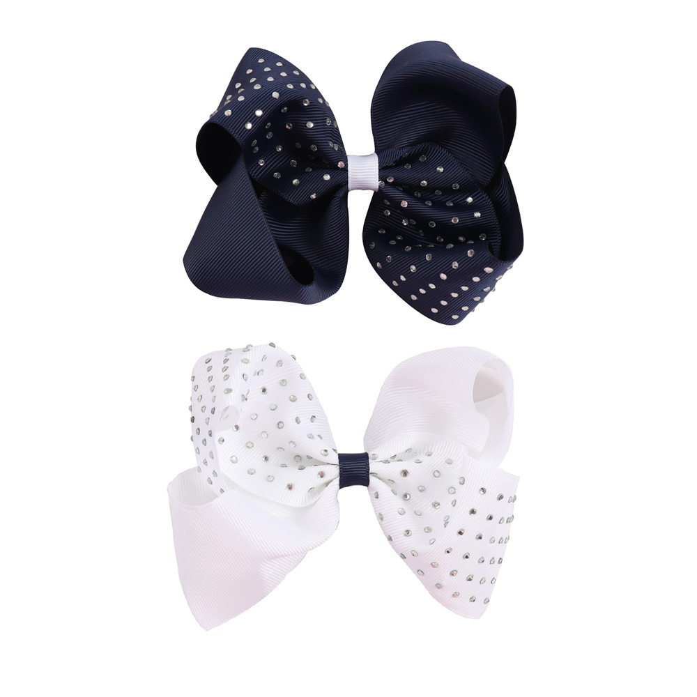 2Pcs/lot 5'' Solid Navy Ribbon Grosgrain Hair Bows With Rhinestone For Girls 2 Colors Hair Bow For School Girls Hair Accessories