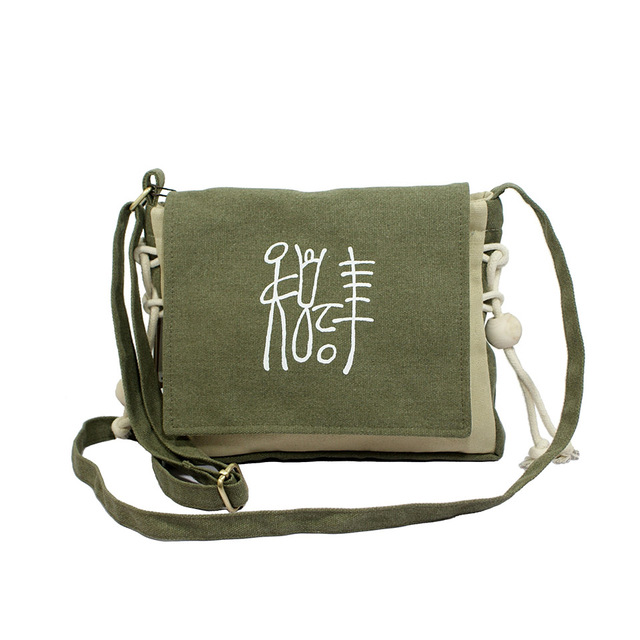 women use national style small size canvas cross body bag