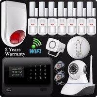 DHL Бесплатная доставка 2,4 г Wi Fi GSM GPRS SMS Беспроводной дома охранной сигнализации Системы IP Камера флэш Siren детектор дыма
