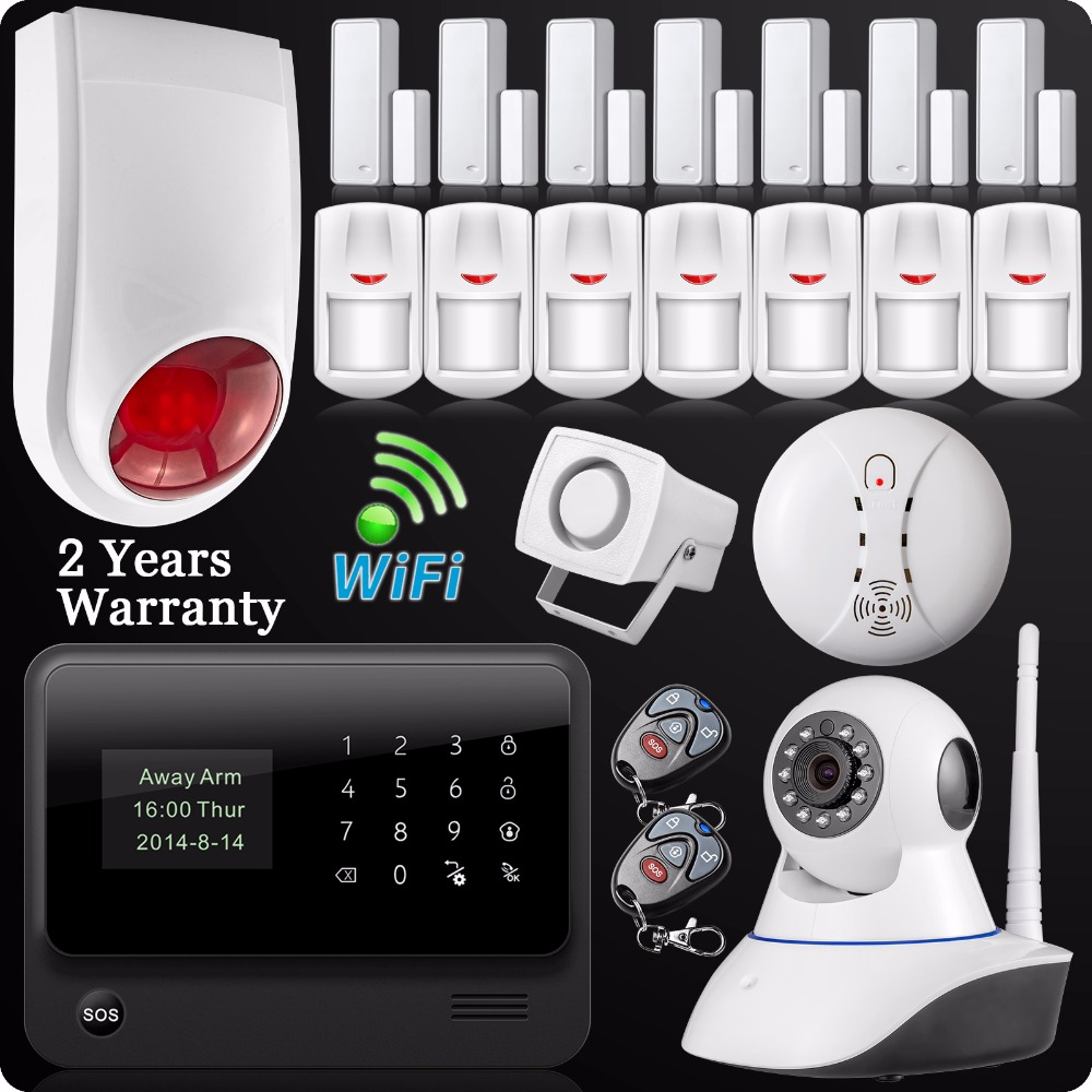 DHL Free Shipping 2.4G WiFi GSM GPRS SMS Wireless Home House Security Intruder Alarm System IP Camera Flash Siren Smoke Detector dhl ems free shipping 2 4g wifi gsm gprs sms wireless home house security intruder alarm system wireless flash siren