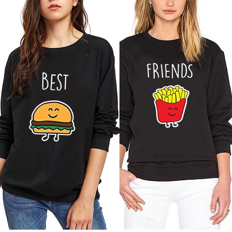 Konstruktiv Beste Freunde Druck Hoodies Kausal Tumblr Frauen Bbf Langarm Pullover Jumper Lustige Lebensmittel Tops Chips Hamburger Sweatshirt T-shirts