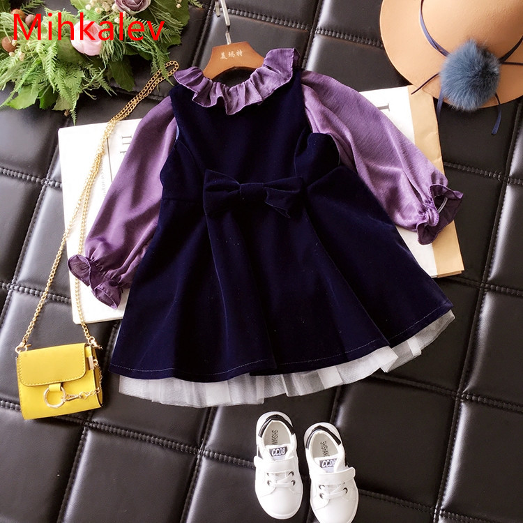 Mihkalev children's clothing girls autumn clothes set long sleeve tops and dress 2PCS kids tracksuits baby girl tracksuits