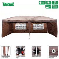 High Quality 3 x 6m Two Windows Practical Waterproof Folding Tent Dark Coffee Folding Tent with 2 windows