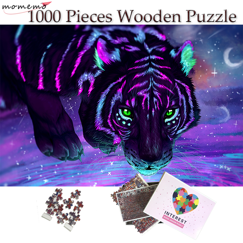 MOMEMO Fluorescent Tiger Puzzle 1000 Pieces Wooden Color Art Painting Jigsaw Puzzle Toys Adults Teenagers Kids Home Decor Gift