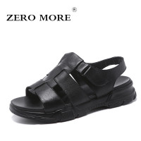 ZERO MORE Mens Shoes Cow Leather Thick Sole Designer Sandals Summer Men Shoes Black Beach Rome Gladiator Slip Sandals Men