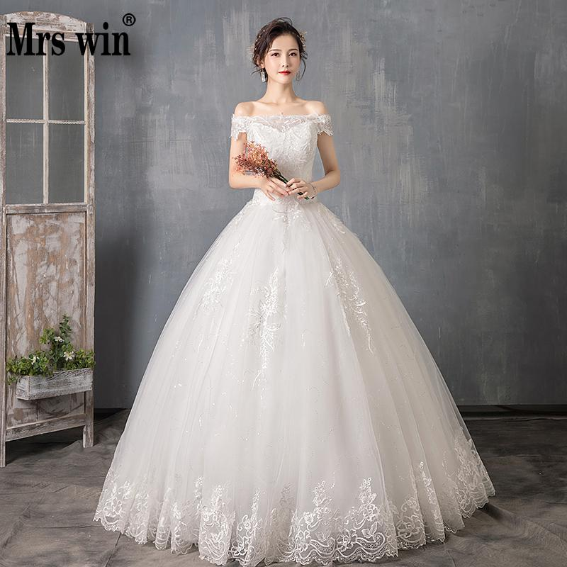 Wedding Dress 2019 Mrs Win The Bridal Floor-length Lace Up Ball Gown Luxury Lace Embroidery Plus Size Wedding Dresses