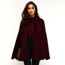 Vintage Suede Cape Women Spring Autumn Windproof Warm Outerwear Office Elegant Simple Lace Up Female Fashion Fake Leather