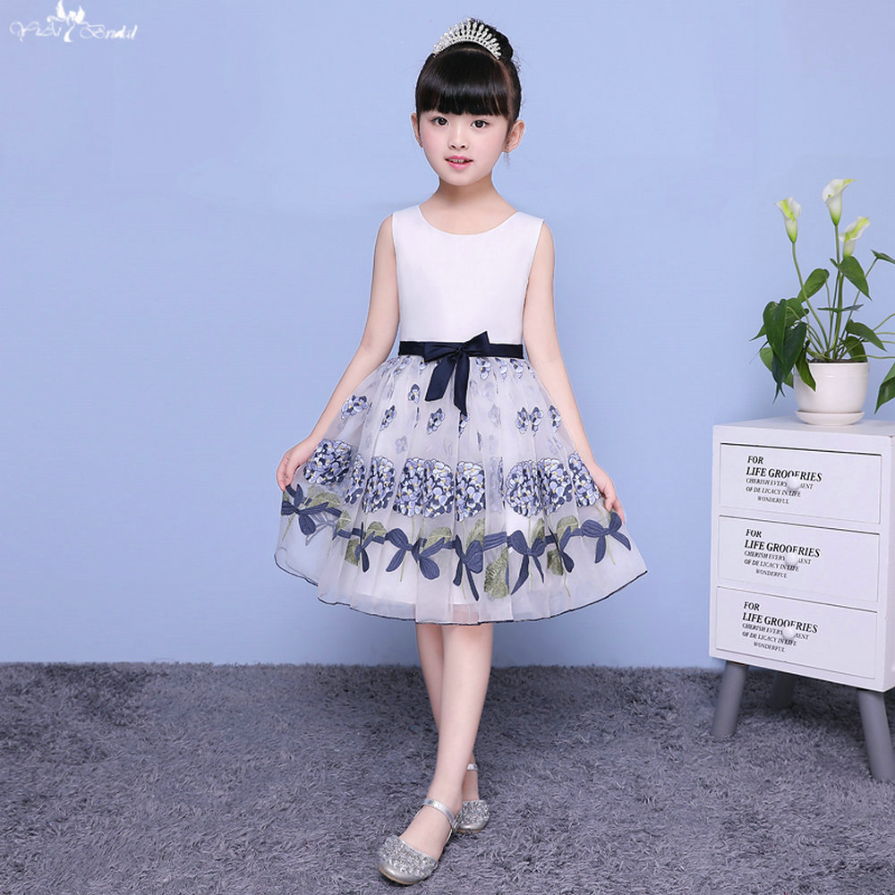 LZC006 Simple A Line   Flower     Girl     Dresses   Satin   Flower     Girl     Dress