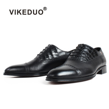 VIKEDUO Leather Shoes Men Genuine Cow Skin Handmade Patina Wedding Office Party Oxford Dress Black Formal Zapato de Hombre