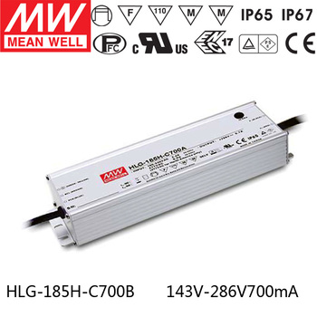 MEAN WELL HLG-185H-C700B 143V ~ 286V 700mA meanwell HLG-185H-C 200.2W LED Driver Power Supply B Type