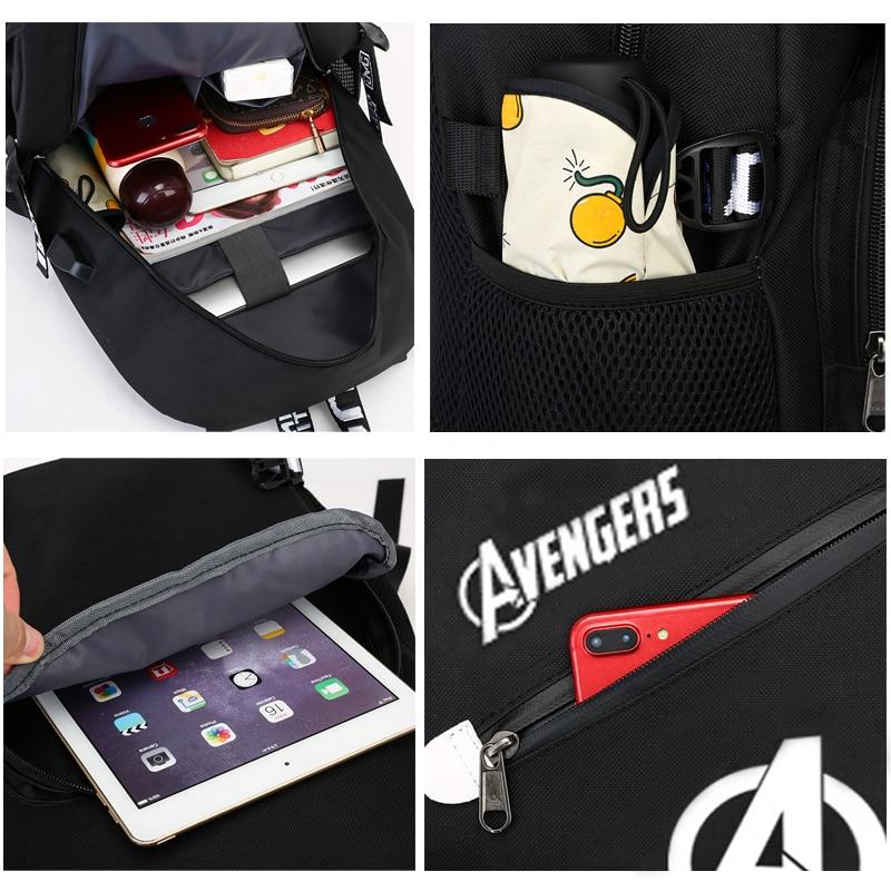 Image 5 - BPZMD Avengers Luminous Backpack Canvas Print Rucksack Laptop  Backpack School for Boys USB Charging Travel Student Backpack  BagBackpacks