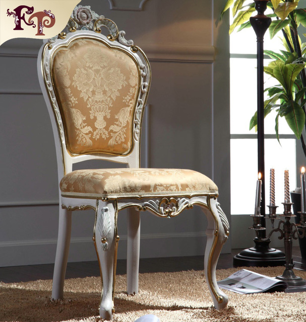teak hand carved furniture - hand carved leaf gilding dining chair european antique furniture
