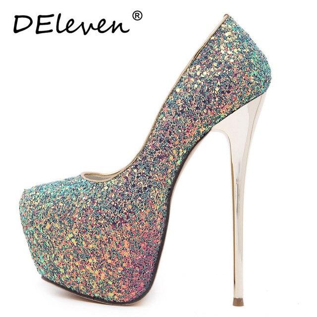 2016 New Vogue Bling Giltter Platform 16.5CM Ultra High Heels Woman Shoes Nightclub Sexy Pumps Party Dress Shoes Black Pink Blue