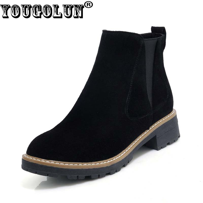 YOUGOLUN Women Ankle Boots Autumn WInter Genuine Cow Suede Nubuck Leather Sqaure Heel 3.5 cm Low Heels Brown Zipper Shoes #Y-246 anmairon winter autumn shoes woman low heels ankle boots women nubuck zipper buckle platform short boots black