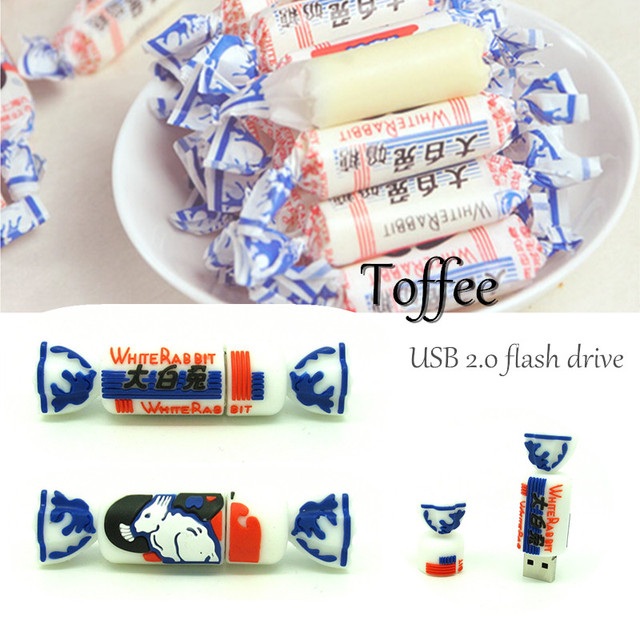 lovely Chinese sweets Candy usb flash drive disk memory stick Pen drive personalized White Rabbit pendrive 4gb 8gb 16gb 32gb