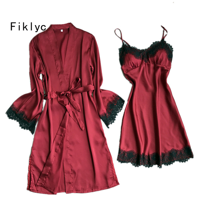 Fiklyc brand full sleeve sexy women s robe   gown sets spaghetti straps  nightdress with bathrobe female lace satin nightwear set 2d6d60f2f