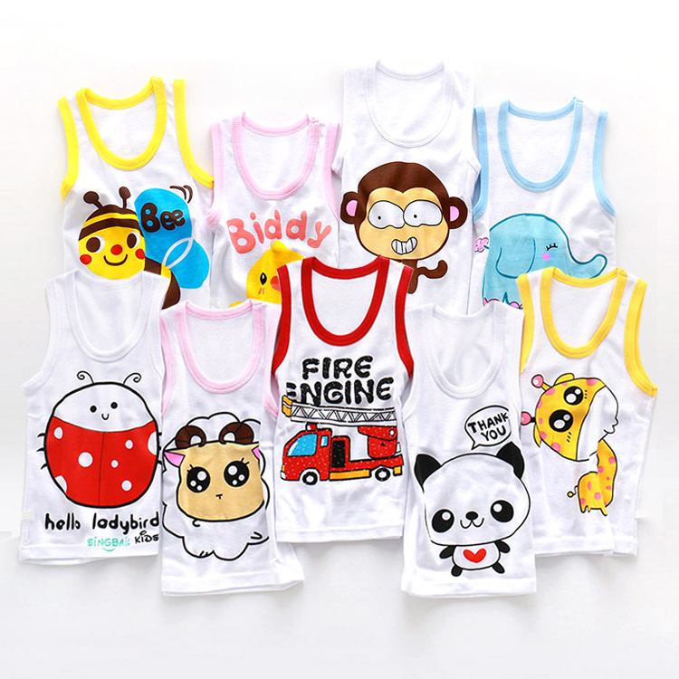 Kids Toddler Underwear Baby Girl Boy Cute Vest 1-6years Lovely Cartoon Print Cotton Sleeveless T-shirt Kids Tanks Tops Clothes kids pineapple print vest