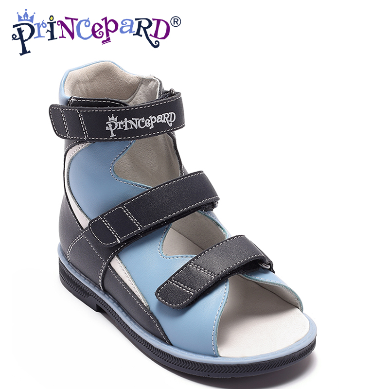 Princepard Summer New Classic boys blue genuine leather Sandals Orthopedic Sandals Toddler Kids Shoes for boys Open Toe Shoes