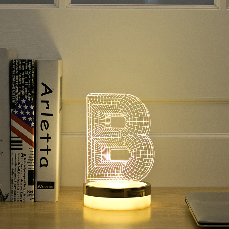 Acrylic Letter B 3D LED Lamp Baby Night Light Sleeping Lighting 5V USB Small led table Lamp Big white Creative Small Desk Lamp creative tractor shaped 3d led desk light colorful car night light remote control indoor lighting acrylic table lamp wholesale