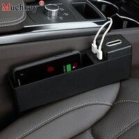 car storage box Seat Gap Filler Storage Box Car Wireless Charging Console Armrest box Side Pocket Organizer Auto interior parts