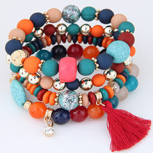 2017 Bohemian Multilayer Candy Color Beads Crystal Tassel Charm Bracelets & Bangles Elastic Stretch Women Jewelry Pulsera