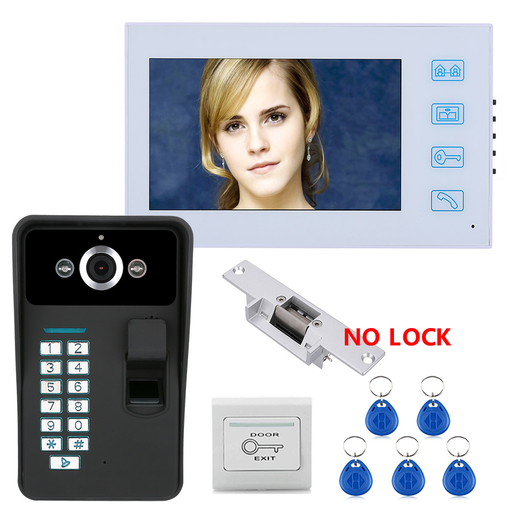 7 TFT Fingerprint Recognition RFID Password Video Door Phone Intercom Doorbell With With NO-Electric Strike Door Lock 7 TFT Fingerprint Recognition RFID Password Video Door Phone Intercom Doorbell With With NO-Electric Strike Door Lock