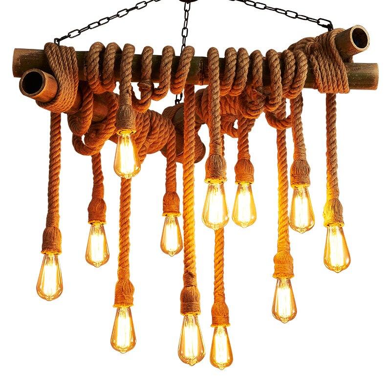 Vintage Hanglamp Rope Pendant Light Lamp Loft Creative Personality Industrial Lamp Edison Bulb American Living Room D602 rope hanglamp retro vintage rope pendant light lamp loft creative industrial lamp edison bulb american style for foyer d601