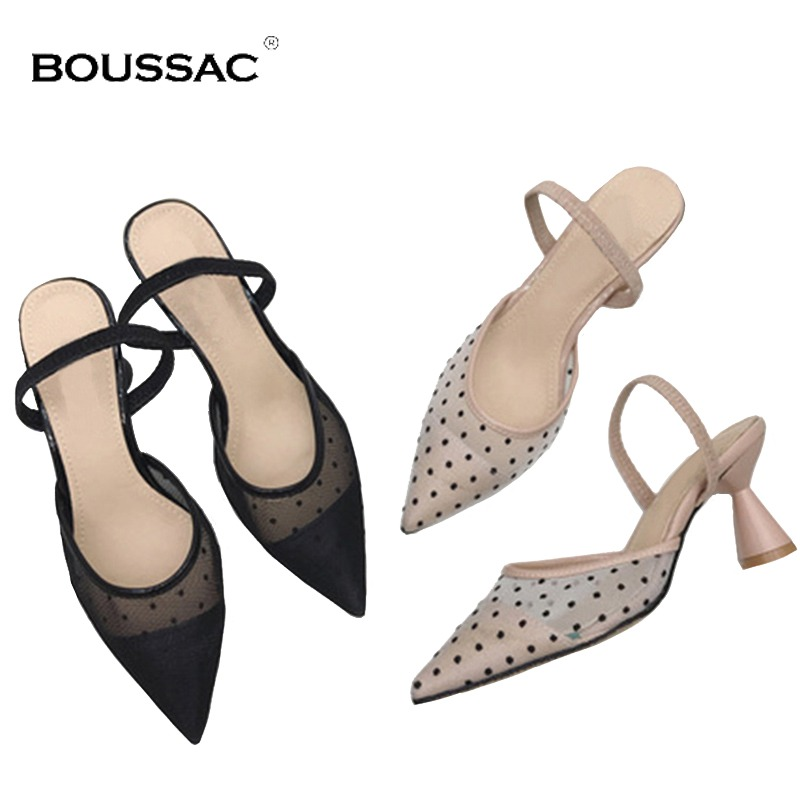 61c4e39bc23 Boussac Polka Dot High Heel Women Sandals Pointed Toe Lace Mules Sandals  Shoes Vintage Geometry Heel