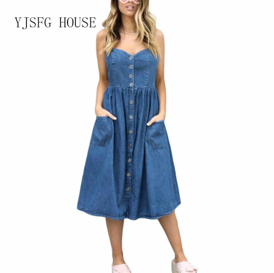 2018 женское платье, сексуальное, без рукавов, с открытой спиной, на бретелях, джинсовое платье, женский джинсовый сарафан с подтяжками, платья с карманами