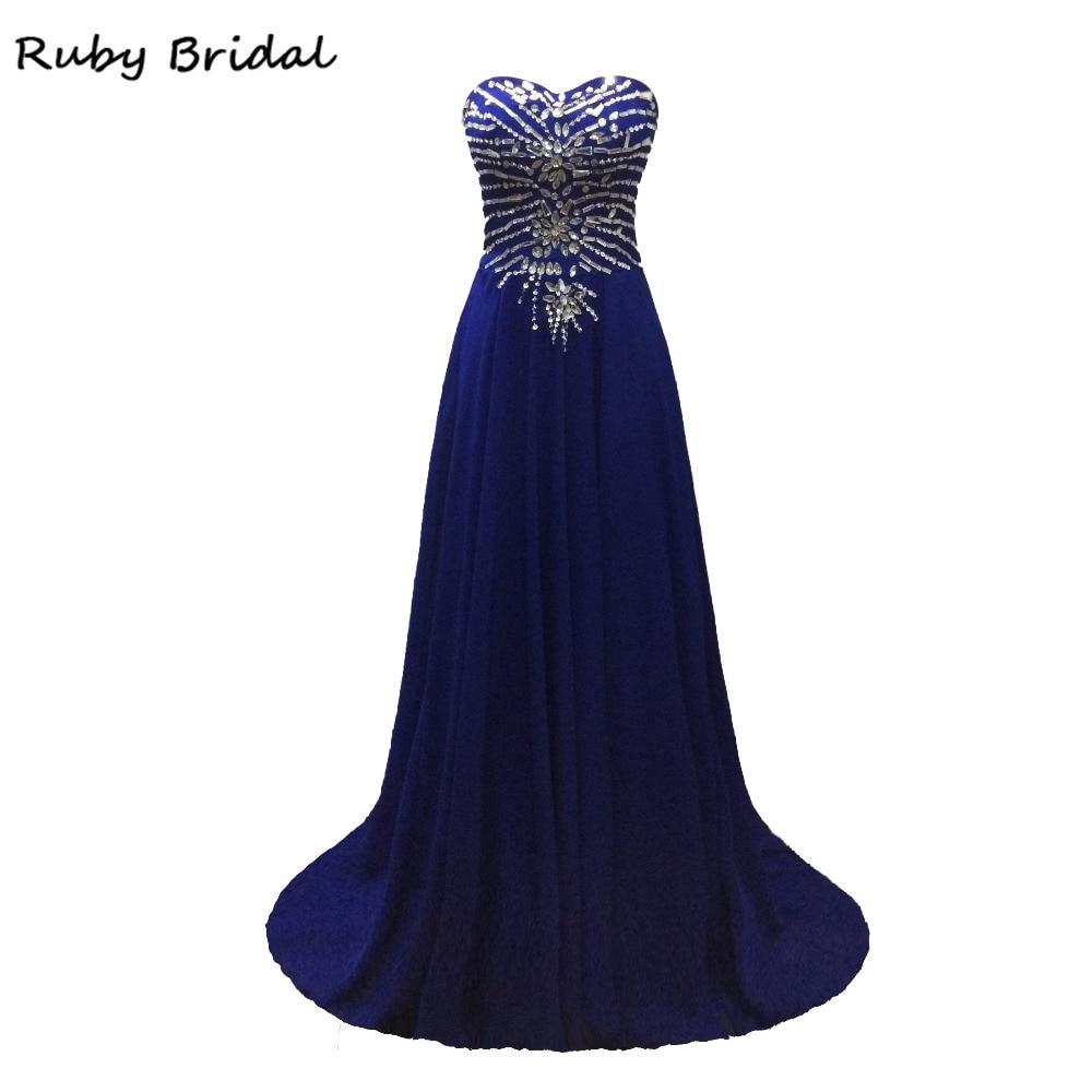 993aec2907b Ruby Bridal Vestido De Festa A-line Prom Dresses Royal Blue Chiffon Beaded  Luxury Strapless