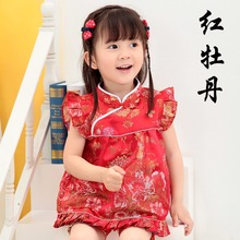 Red Peony Baby Girls Clothes Sets Chinese New Year Qipao For Children Tops Hot Shorts Floral Bebe Rompers Chi-pao Cheongsams
