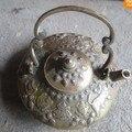 Seltene Exquisite handgeschnitzten Antiken Kupfer Teekanne Wasserkocher schnelles Verschiffen-in Statuen & Skulpturen aus Heim und Garten bei