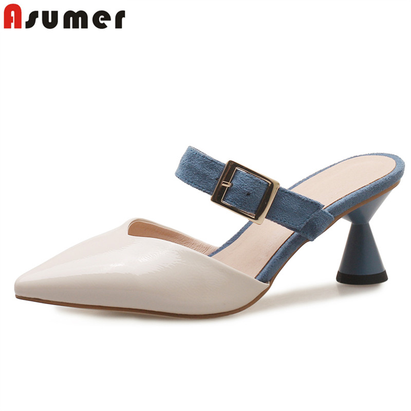 ASUMER EUR SIZE 34-43 New arrive high quality women sandals pointed toe Mary Jane high heels mule shoes summer office lady shoesASUMER EUR SIZE 34-43 New arrive high quality women sandals pointed toe Mary Jane high heels mule shoes summer office lady shoes