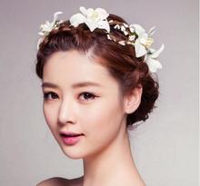 Artificial flower rose Romantic,white wedding garland Bridal wreath beach Photography Accessories Bridal Hair Accessories