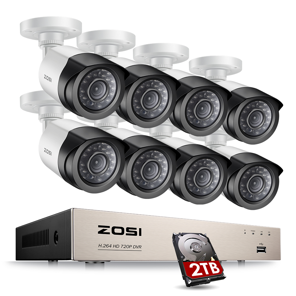 ZOSI 8CH 1080P Video Surveillance Kit with 2TB Hard Drive 2MP Camera Video Surveillance Outdoor CCTV Camera Security System KitZOSI 8CH 1080P Video Surveillance Kit with 2TB Hard Drive 2MP Camera Video Surveillance Outdoor CCTV Camera Security System Kit