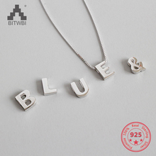 100% Real S925 Sterling Silver Simple Fashion Charm Twenty-six English Alphabet Girl Woman Pendant Necklace Holiday Gift