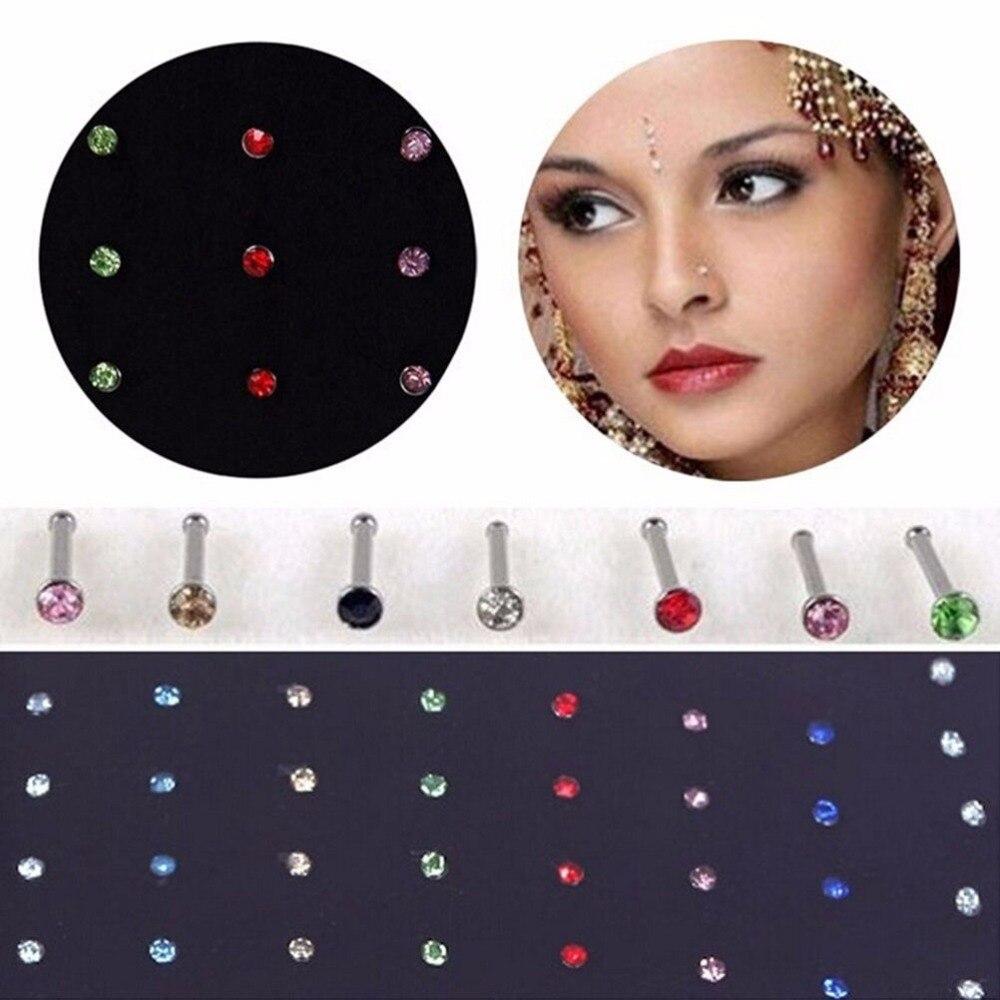 1 Paket Von 40 Stücke Groß Knochen Gerade Stud Bar Piercing Nase Ring 2 Farben Kristall Strass Heißer Verkauf Lassen Sie Unsere Waren In Die Welt Gehen