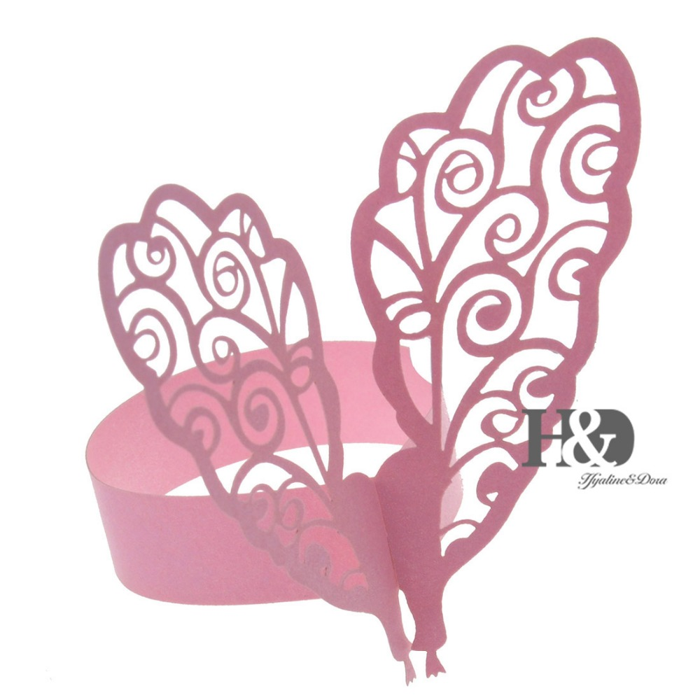 12 PC Dinner Decor Pink Hollow Butterfly Wings Laser Cut Paper ...
