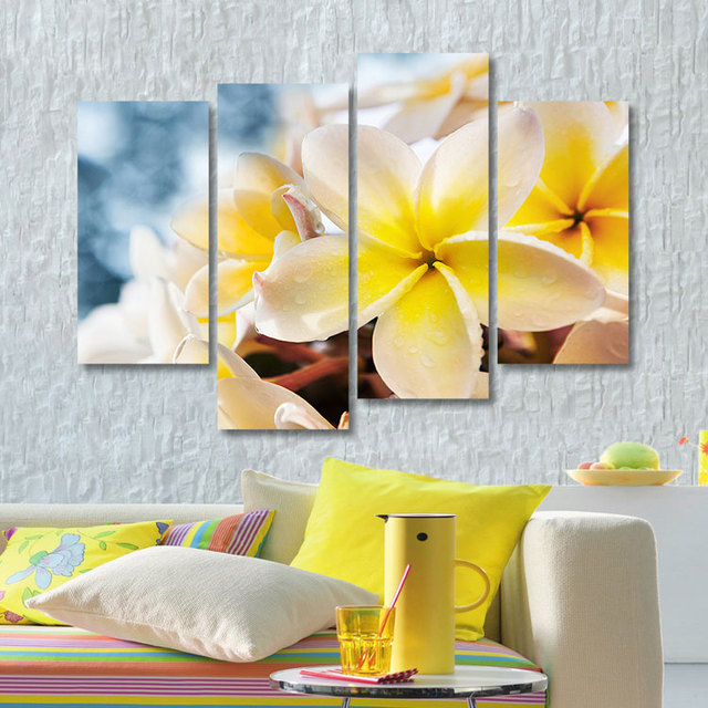 Hot selling beautiful flower canvas paintings 4 pieces wall art ...