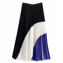 Tide brand new hit color large vertical feel pleated skirt matching striped 2019 fashion tempe