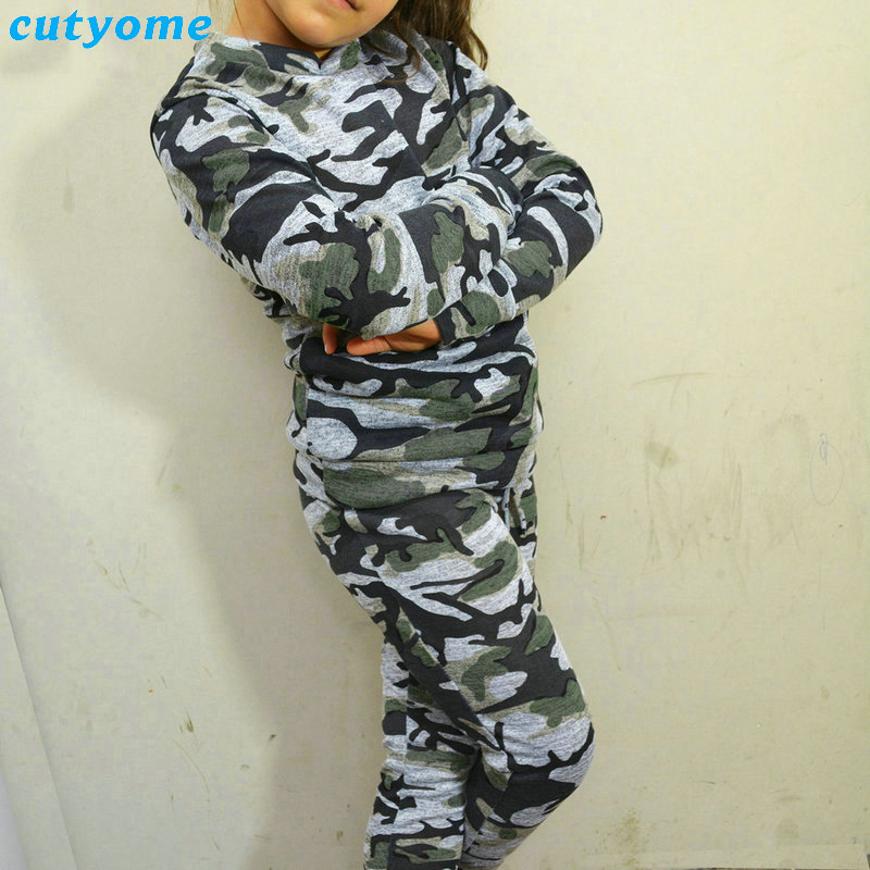 Children Girls Army Clothing Set Summer 2-6y Kids Clothes Set Boy Cotton Print Long Sleeve T Shirt And Camouflage Pants Suit