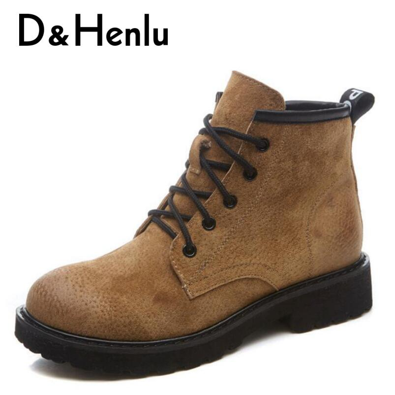 {D&Henlu} New Genuine Leather Shoes Woman Boots 2018 Casual Boots Women Winter Lace Up Ankle Boot Platform Heels Low High Boot new 28 color casual boot genuine leather flats shoes shoelace shoes boot lace shoes strap shoeslaces 500pairs lot via dhl ems