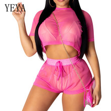 YEYA Sexy Women Jumpsuits Romper 2 Pieces Sets O-neck Top and Lace-up Pants Summer See Through Mesh Casual Streetwear Playsuits