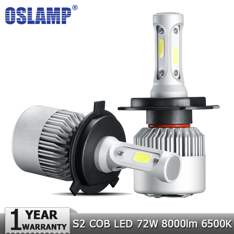 Oslamp H4 H7 H11 9005 9006 H1 COB Car LED Headlight Bulbs Hi-Lo Beam 72W 8000LM 6500K Auto Led Headlamp Car Light Bulb 12v 24v