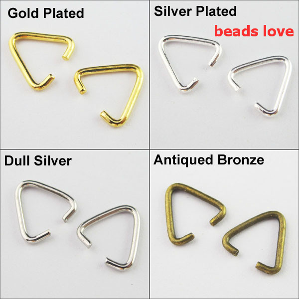 (500Pcs/lot )Pick 4 Colors Jewelry Findings Triangle Jump Ring Bail(w02925)Free Shipping!